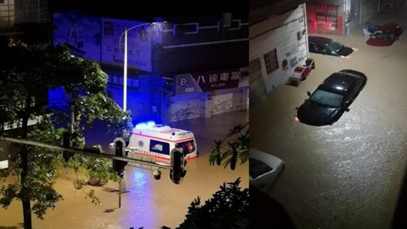 廣州城區多處一片汪洋,部分地方水深及腰。暴雨一度將汽車沖走,部分地方有樹木傾倒。(合成圖片)