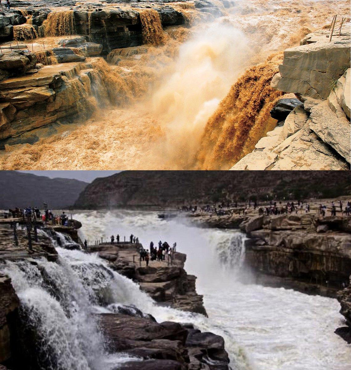 變清後的黃河與正常的黃河之對比。(大紀元合成圖)