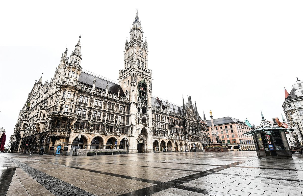 疫情下,昔日慕尼黑市人頭攢動的馬琳廣場已變得空空如也。(Getty Images)