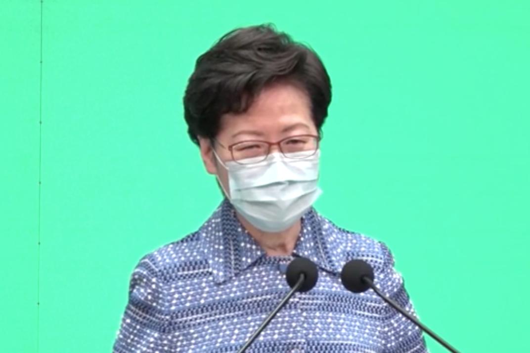 香港特首林鄭月娥今日(5月26日),在行政會議接見記者,並意圖為中共推行「港區國安法」辯護。(影片截圖)