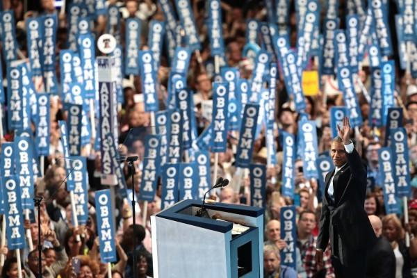 7月27日美國費城,民主黨全代會召開第三晚,奧巴馬總統做主題發言。(Drew Angerer/Getty Images)