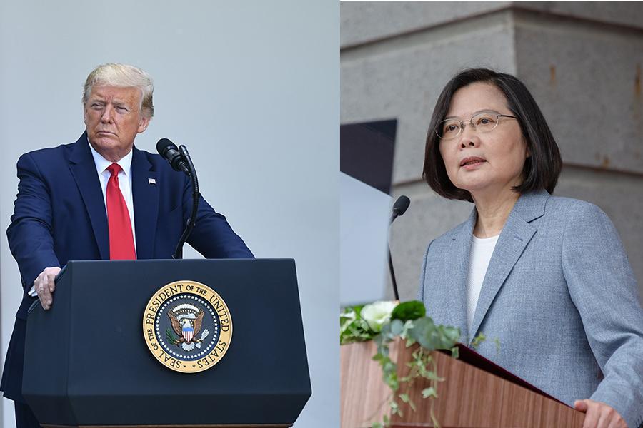 美國總統特朗普(左圖)表示,本周內將對強硬回應中共有關「港版國安法」的行動。台灣總統蔡英文表示(右圖),行政院將提出對香港的人道救援行動方案。(BRENDAN SMIALOWSKI/AFP/Getty Images、總統府Flickr)
