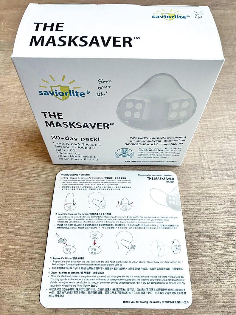 MASKSAVER口罩由兩層食品級塑膠製成,加上兩片口罩濾膜,具有易清洗的特點。