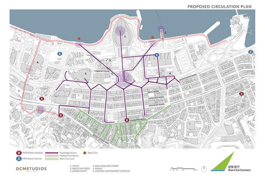 「連繫灣仔」設計團隊規劃方案中,灣仔南北地段將由行人天橋網絡加強連接。(公關提供)