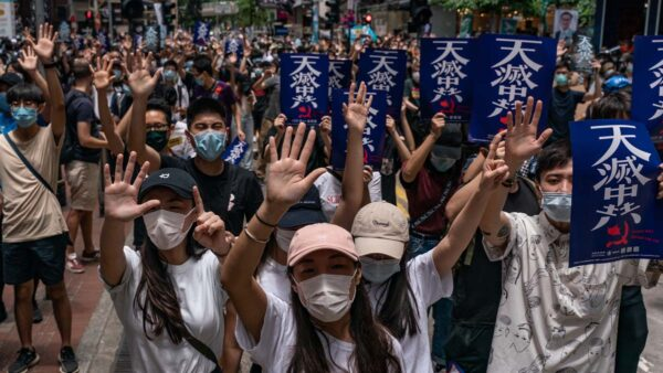 5月24日,香港再現大規模抗議,「天滅中共」標語遍佈街頭。(Anthony Kwan/Getty Images)