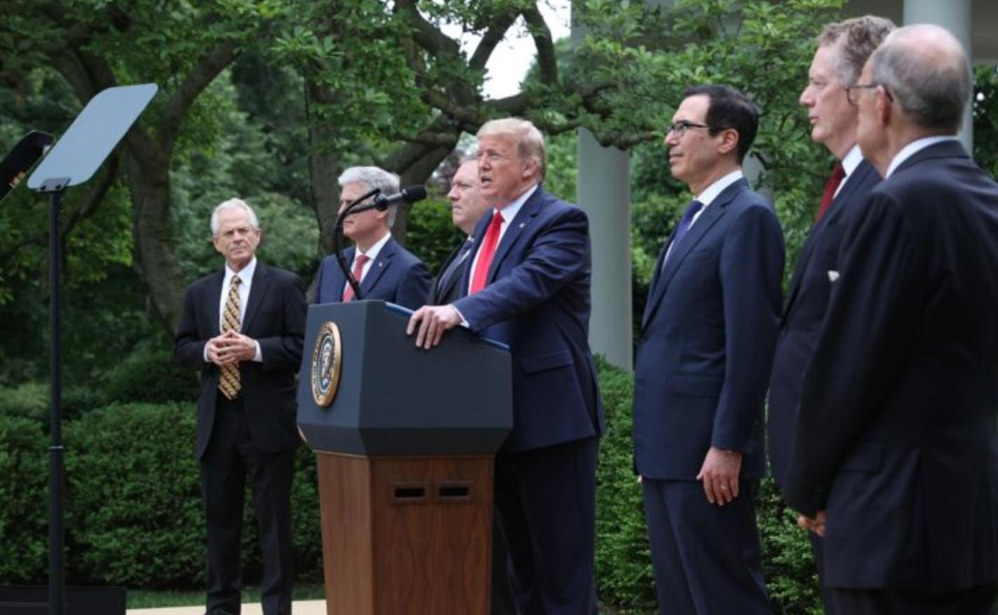 美國總統特朗普5月29日在白宮玫瑰園針對中共作出多管齊下的重大政策宣示。( Win McNamee/Getty Images)