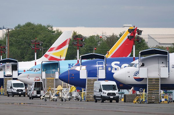 2020年4月29日,波音華盛頓州倫頓(Renton)生產廠外停泊的737 Max飛機。(Getty Images)