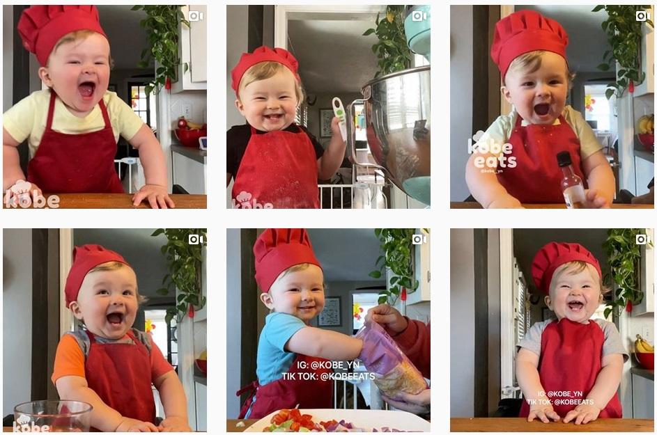 「KOBE EATS」帳號裏貼滿了高比在廚房中烹調的影片。(取自Instagram帳號kobe_yn 的大頭貼照)