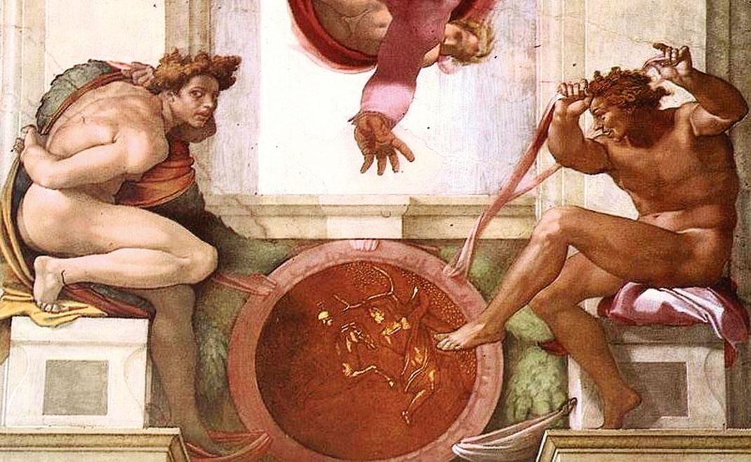 裝飾性質的裸體人物Ignudi,兩人對應成一組,中央的圓牌描繪著《諸王紀》中的故事。(公有領域)
