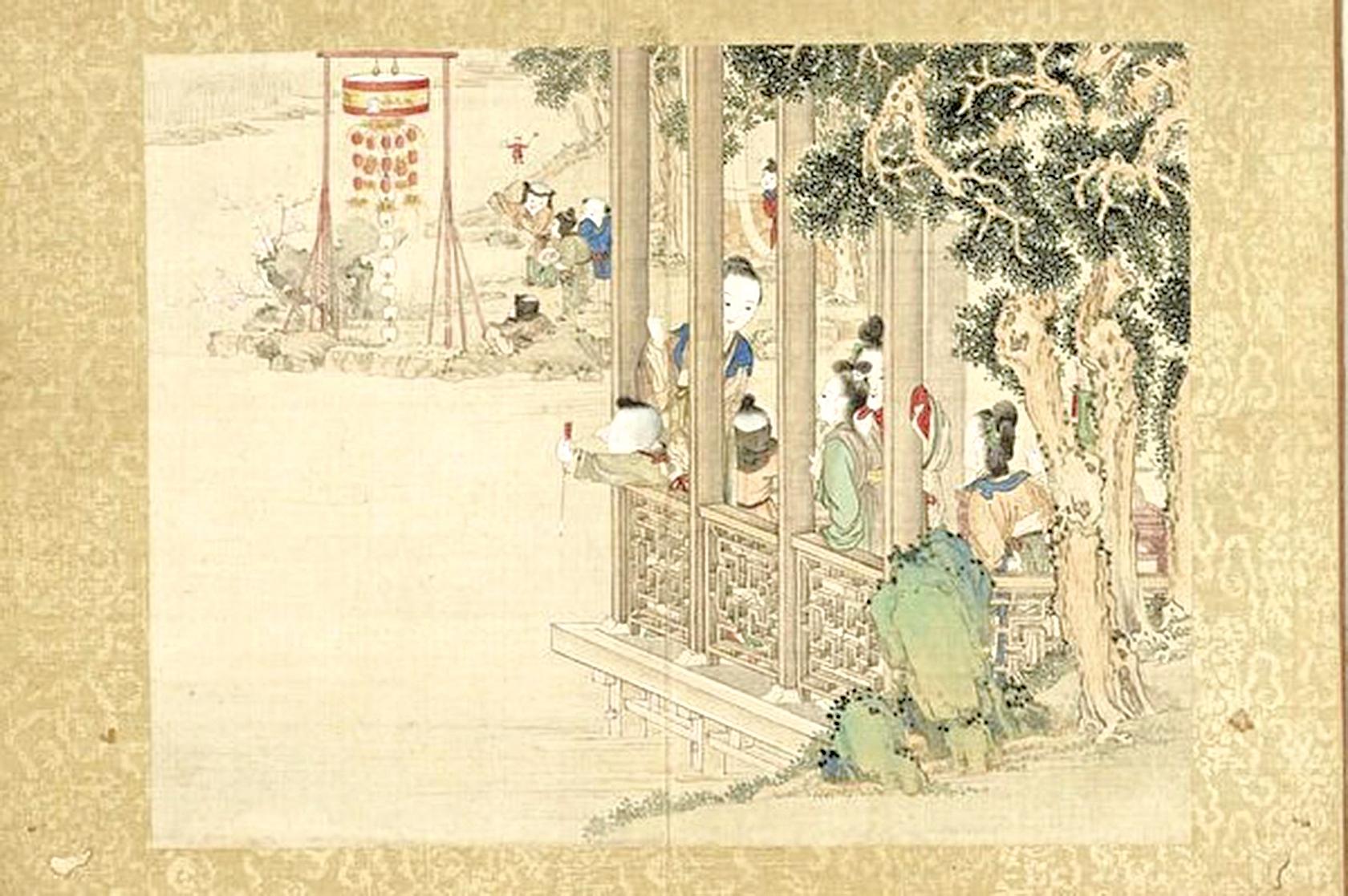 清宮繪本《昇平樂事圖冊之大花燈》(公有領域)