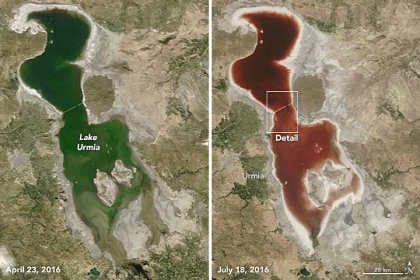 微生物「作怪」 伊朗鹹水湖泊由綠轉紅