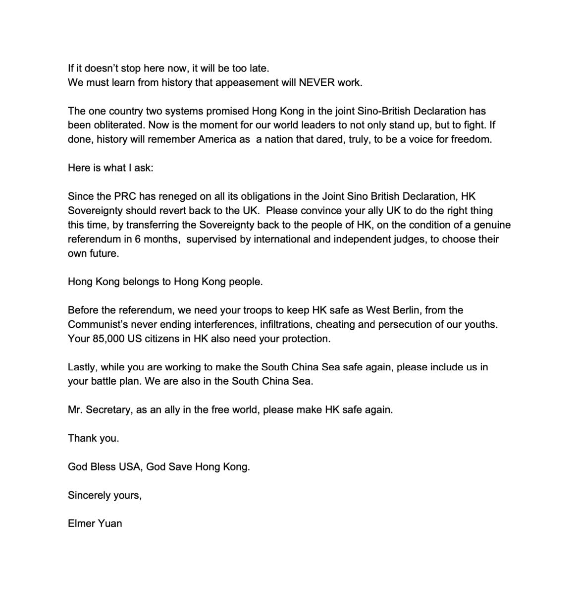 袁弓夷給蓬佩奧公開信英文全文(2)(大紀元圖片庫)