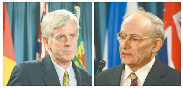 2006年,受邀進行獨立調查的大衛麥塔斯(右)和大衛喬高(左)共同發佈了「關於調查指控中共摘取法輪功學員器官的報告」。(網絡圖片)