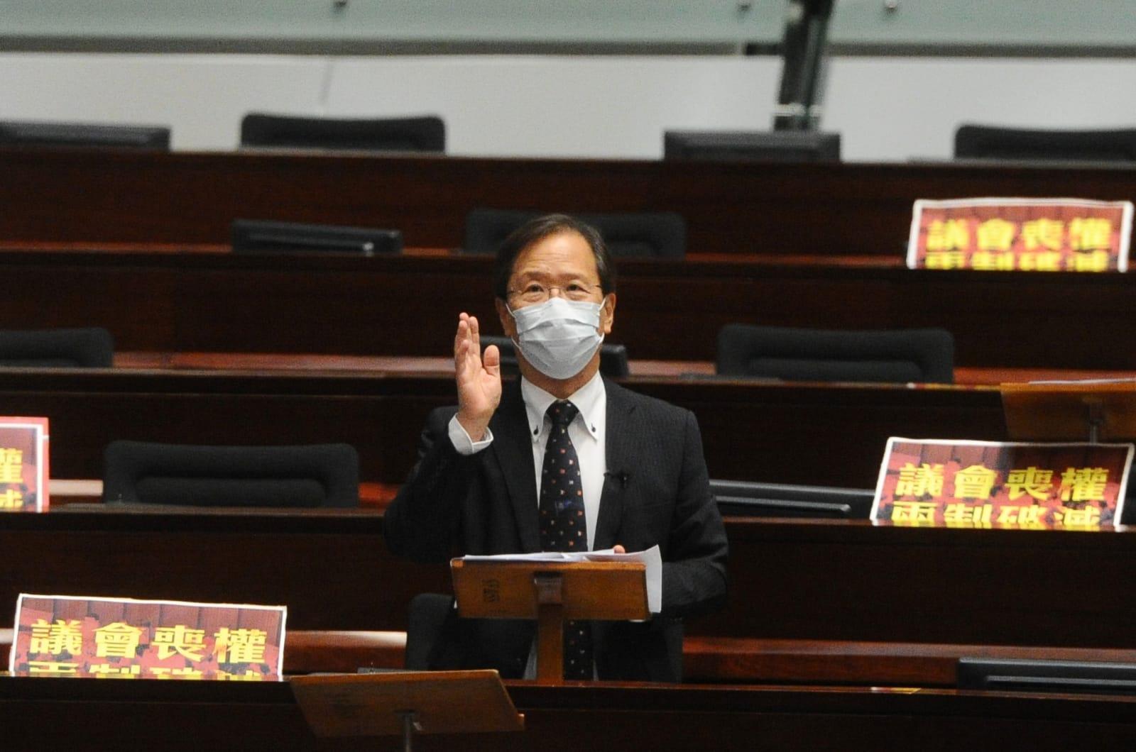 郭家麒議員表示支持民主派議員提出的全部修正案。(宋碧龍 / 大紀元)