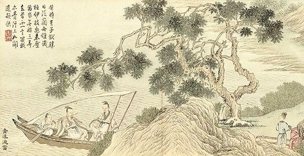 清‧金廷標《青溪邀笛》描繪桓伊為泊舟於青溪側的王徽之演奏笛曲的故事(公有領域)