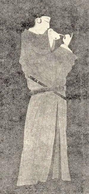 桓伊像,元代錢選繪,現藏日本神戶川崎家(公有領域)