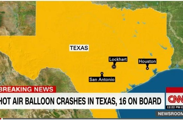 周六,一個載有16人的熱氣球在德州墜毀。當局表示,無人生還。(視像截圖)