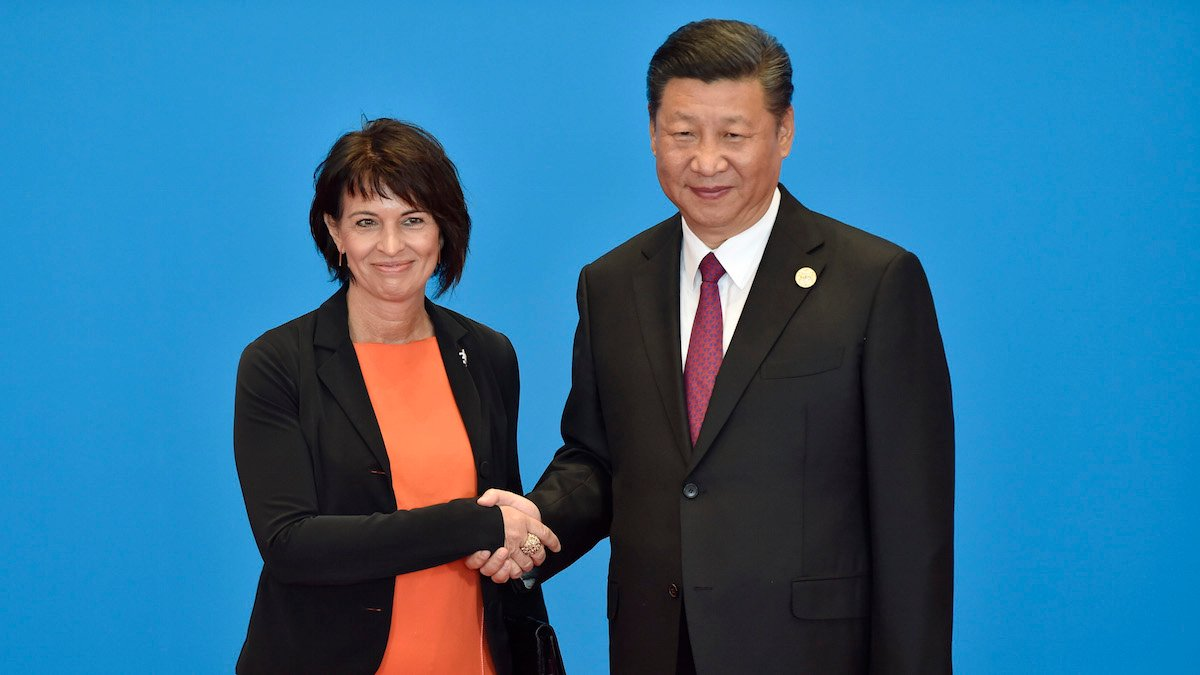 Switzerland's President Doris Leuthard(L)shakes hands with Chinese President Xi Jinping during the welcome ceremony for the Belt and Road Forum, at the International Conference Center in Yanqi Lake, north of Beijing, May 15, 2017.(Kenzaburo Fukuhara/KYODONEWS/POOL)