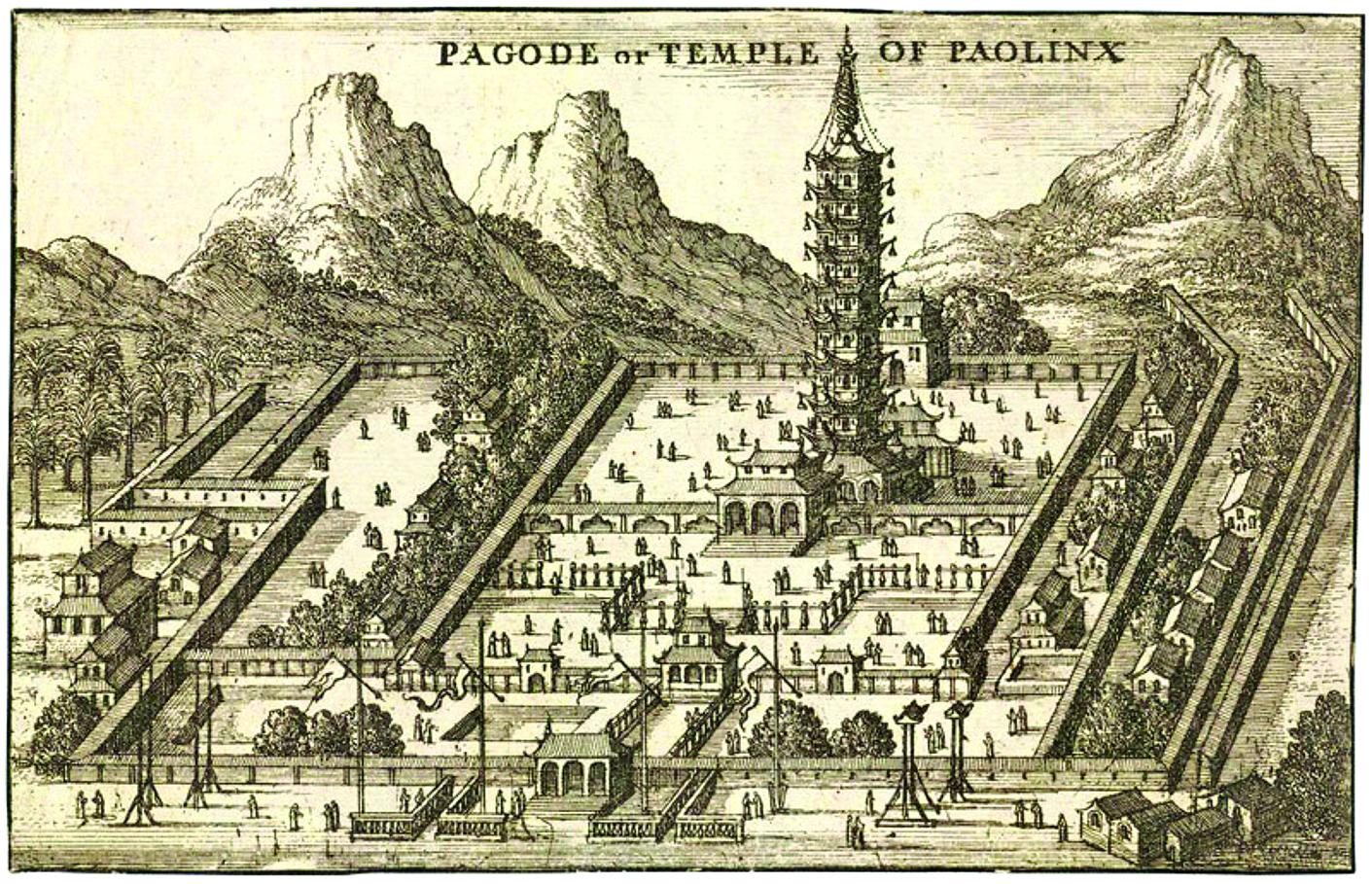 南京大報恩寺塔,建於明永樂年間,毀於清太平天國時期。早期到中國旅行的西方人曾讚譽這座塔氣勢宏偉、作工精美,是東方最偉大的建築。(公有領域)