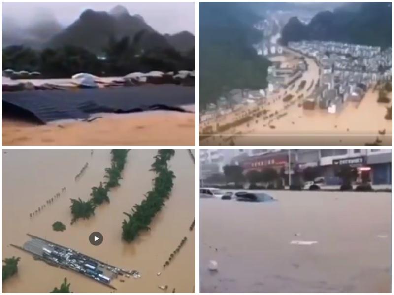 廣西因連日暴雨水庫洩洪導致陽朔全縣被淹,大橋變孤島。(視頻截圖/大紀元合成)