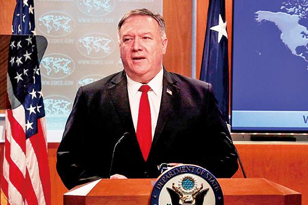 中共強行通過港版國安法。6月9日,美國國務卿蓬佩奧在國務院網站發表強硬聲明,譴責中共凌霸,並表示對英國提供任何需要的幫助。(AFP)