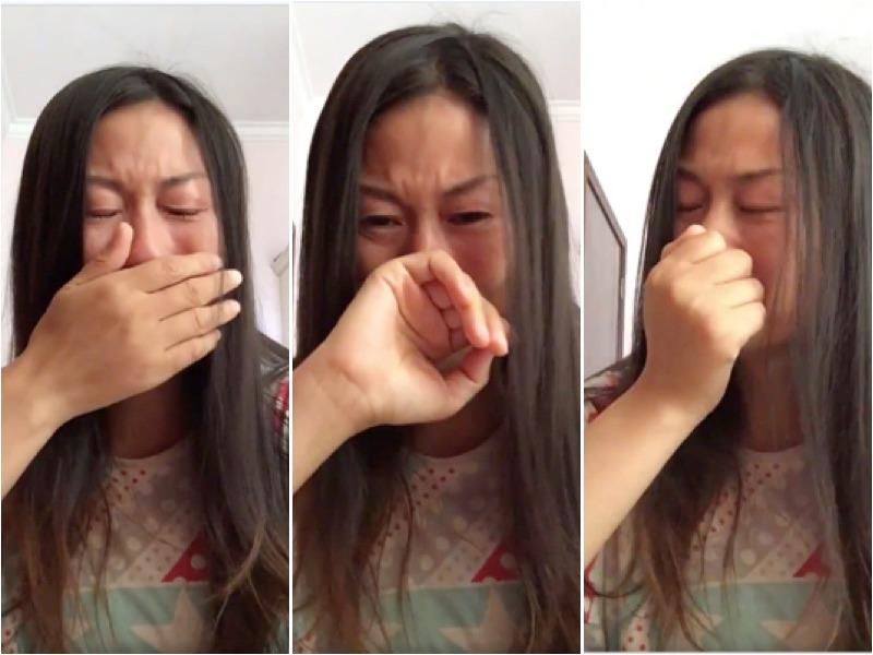 痛哭中的王麗。(視頻截圖)