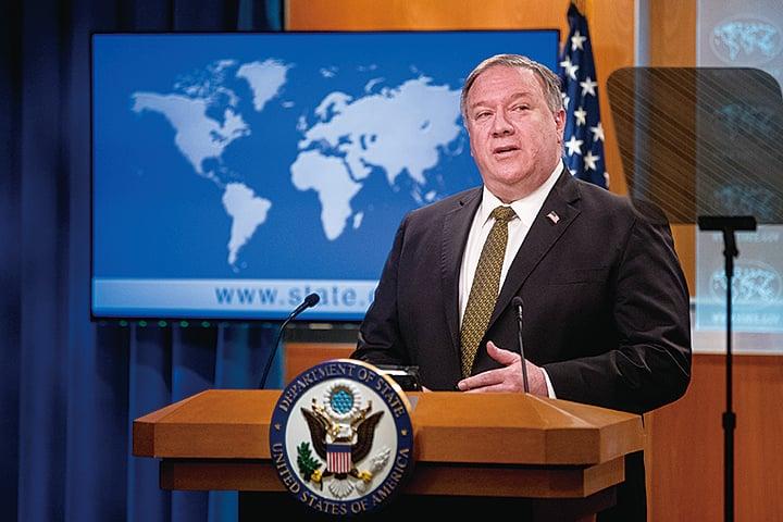 美國國務卿蓬佩奧6月10日在新聞發佈會上。(Getty Images)