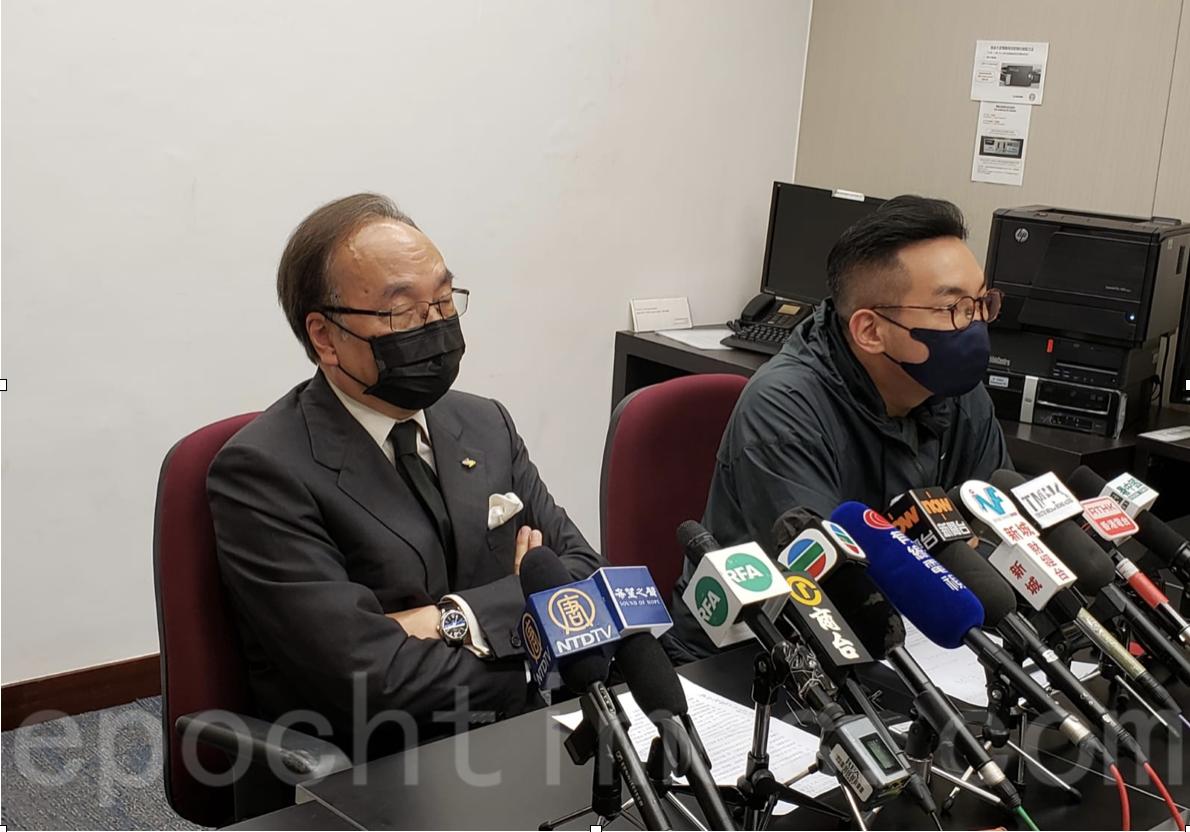 梁家傑(左)和楊岳橋召開記者會回應中聯辦和港澳辦的發文