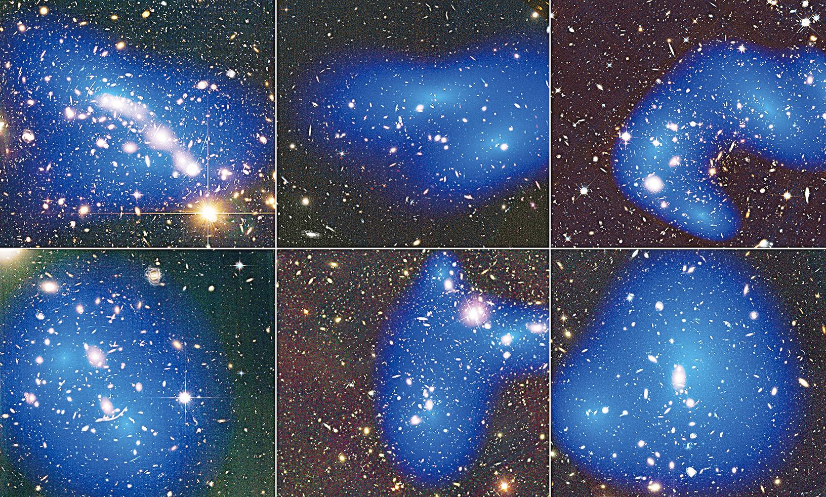 科學家曾根據星系碰撞,繪製星系團中的暗物質(藍色),發現其含量超乎想像。(NASA)