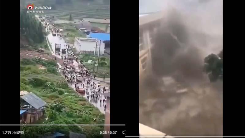 網傳貴州龍塘水庫崩塌,民眾奔走逃難。(影片截圖)