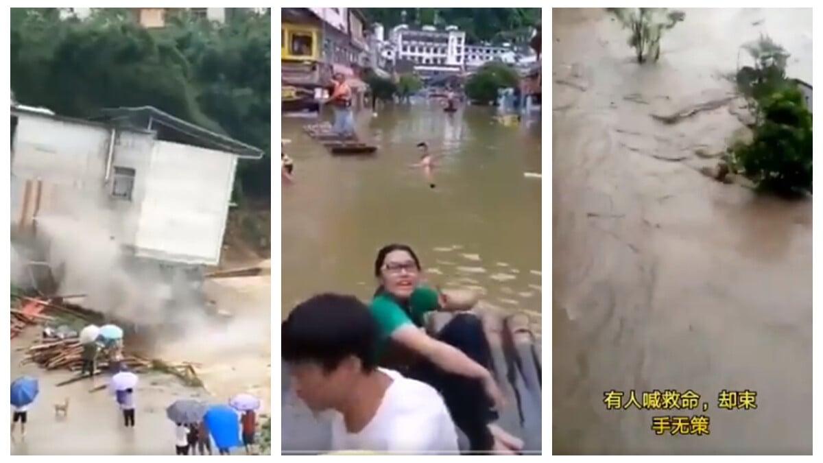 中國南方連日暴雨成災,148條河流水位超過警戒線。多地被淹沒,許多人被沖走,大量房子倒塌。(合成圖片)