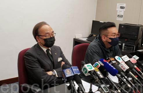 被中聯辦、港澳辦點名批判的梁家傑(左)和楊岳橋(右)見記者。(大紀元)