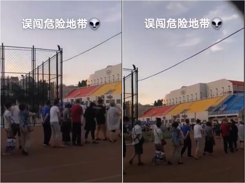 去過新發地的北京市民被要求全部做核酸檢測,在宣武體育館排隊等待檢測。(影片截圖/大紀元合成)
