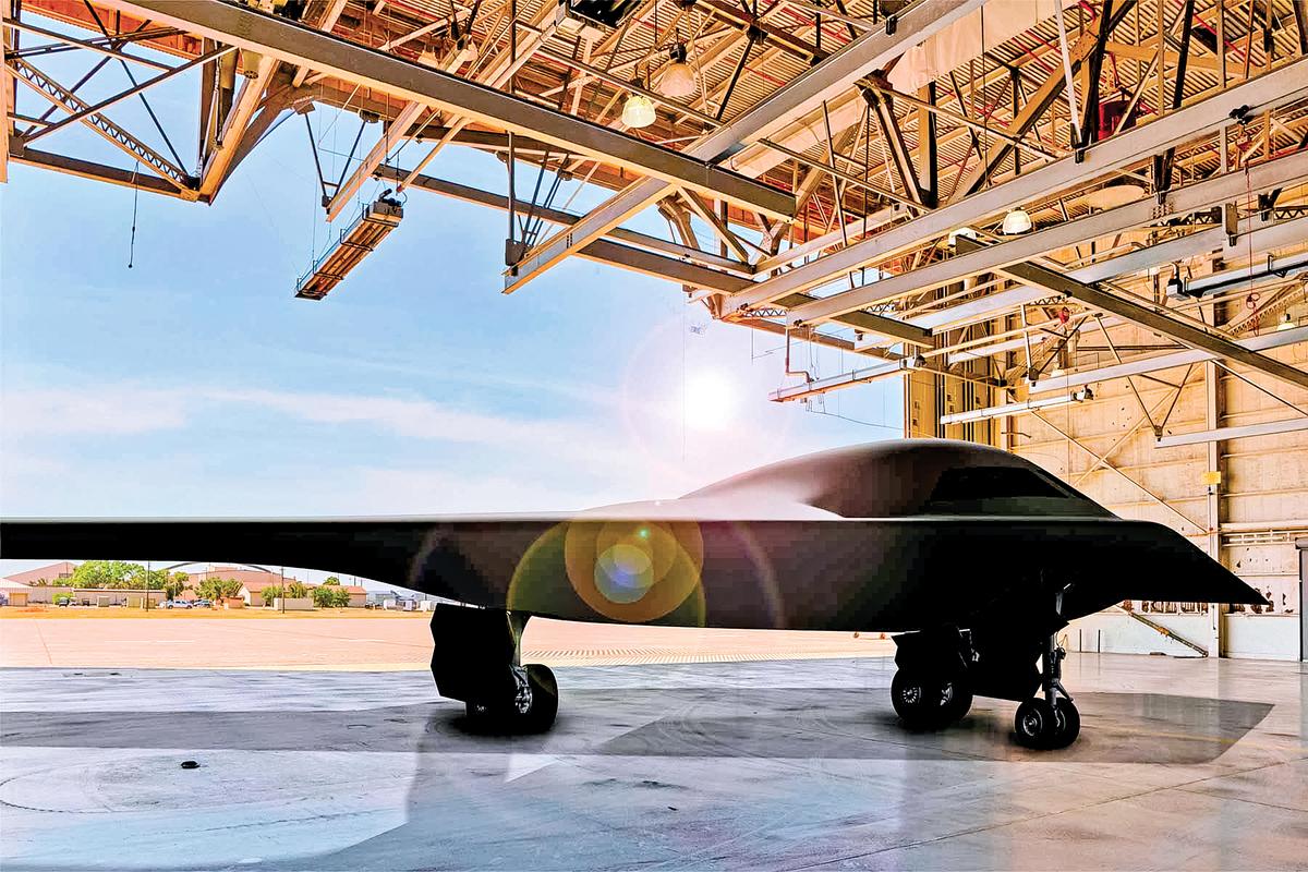 美軍新式隱型轟炸機B-21的完成渲染圖。(U.S. Air Force)