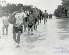 汝南民眾在遷移,以躲避洪水。(維基百科)
