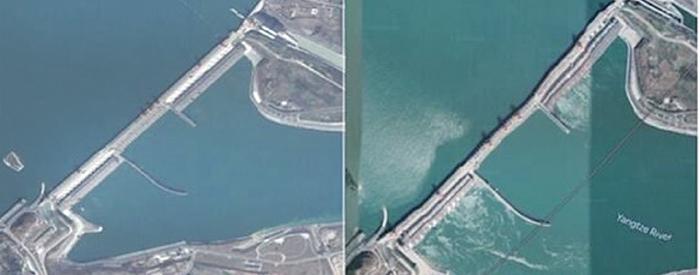 2018年7月,推特帳號「冷山時評」曾發出兩張疑似谷歌衛星拍攝的三峽 大壩圖片,右圖壩體有明顯扭曲。( 網絡截圖)