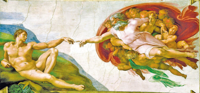 米開朗基羅《創造亞當》(The Creation of Adam),梵蒂岡西斯汀禮拜堂天頂畫《創世記》局部。(BevinKacon/Wikimedia commons)