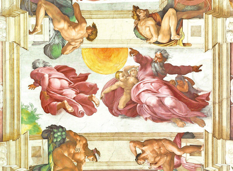 米開朗基羅《創世紀》中的《創造日月》。(Eugene a/Wikimedia commons)
