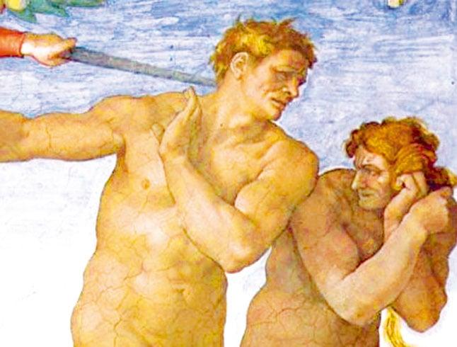 違反禁令被逐出伊甸園的亞當、夏娃變得醜陋。(Sailko/Wikimedia commons)