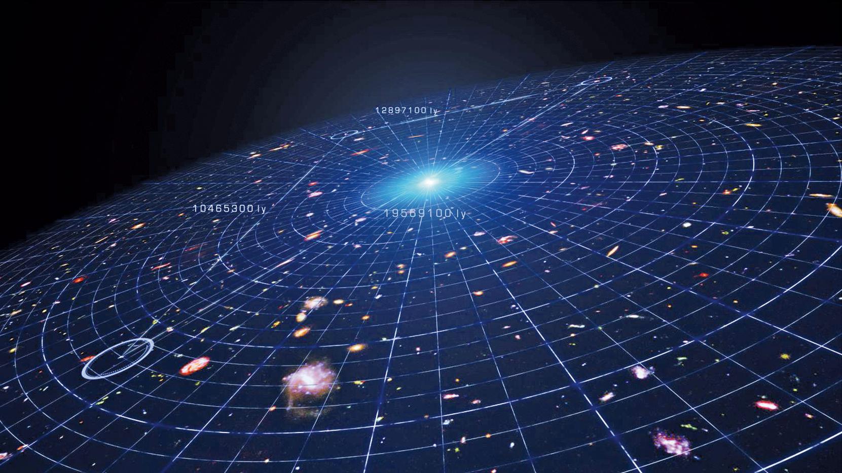 宇宙膨脹示意圖。(NASA's Goddard Space Flight Center Conceptual Image Lab)