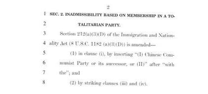 禁止中國共產黨員獲得美國永久居民身份和歸化美國的法案。(Guy Reschenthaler推特)