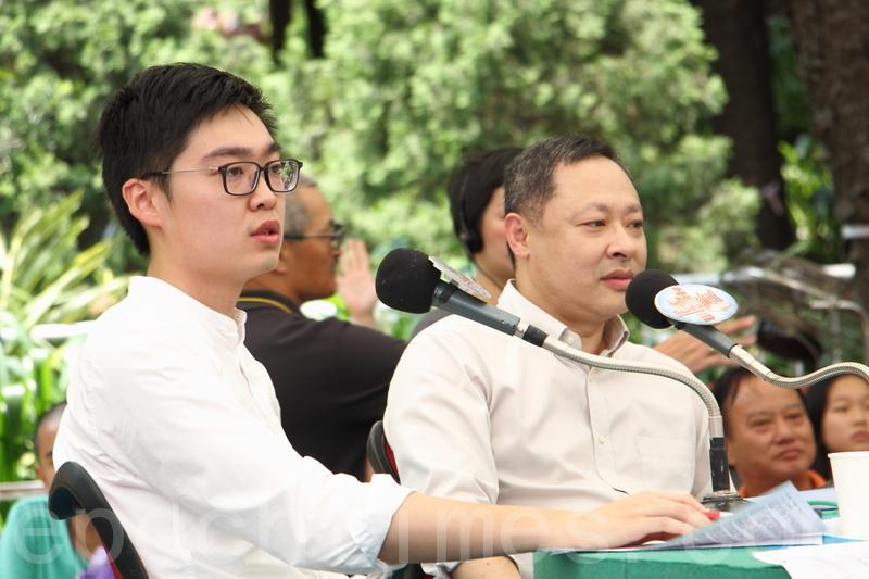 昨日《城市論壇》討論香港民族黨召集人陳浩天,被選管會以推動「港獨」為由,裁定其參選立法會的提名無效。港大法律學系副教授戴耀廷(右)認為,選管會做法違反《基本法》。(蔡雯文/大紀元)