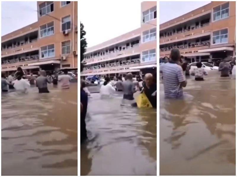 南京暴雨下,很多地方水深齊腰。(視頻截圖)