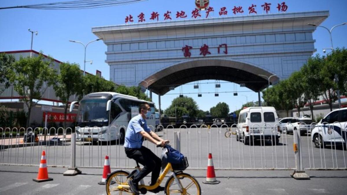 北京所有小區被封,有市民斷糧網上求援。圖為北京市新發地農貿市場已經被封鎖的出入口。(NOEL CELIS/AFP via Getty Images)