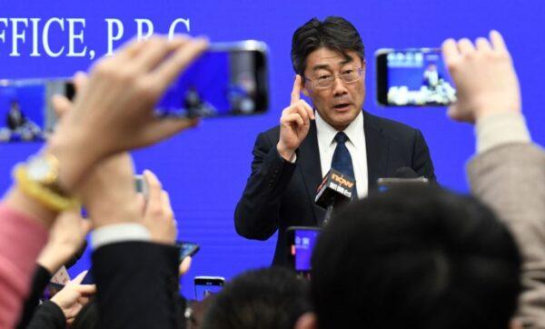 圖為高福1月26日在北京舉行新聞發佈會上發表講話。(NOEL CELIS/AFP via Getty Images)