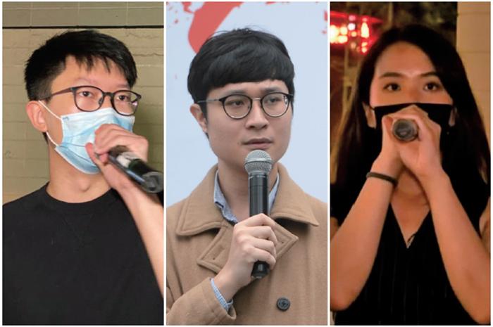 █ 張崑陽(左)、劉穎匡(中)及何桂藍(右)昨日宣佈參加民主派初選。(肖 龍/大妃元、資料圖片)