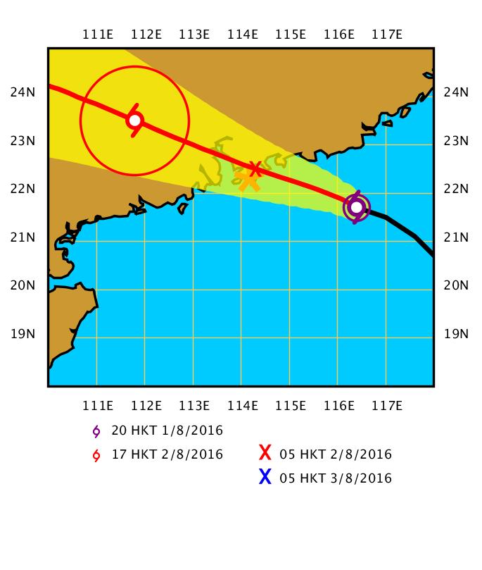 妮妲會在今日逐步靠近廣東沿岸,預料會在明日相當接近珠江口一帶。(香港天文台提供)