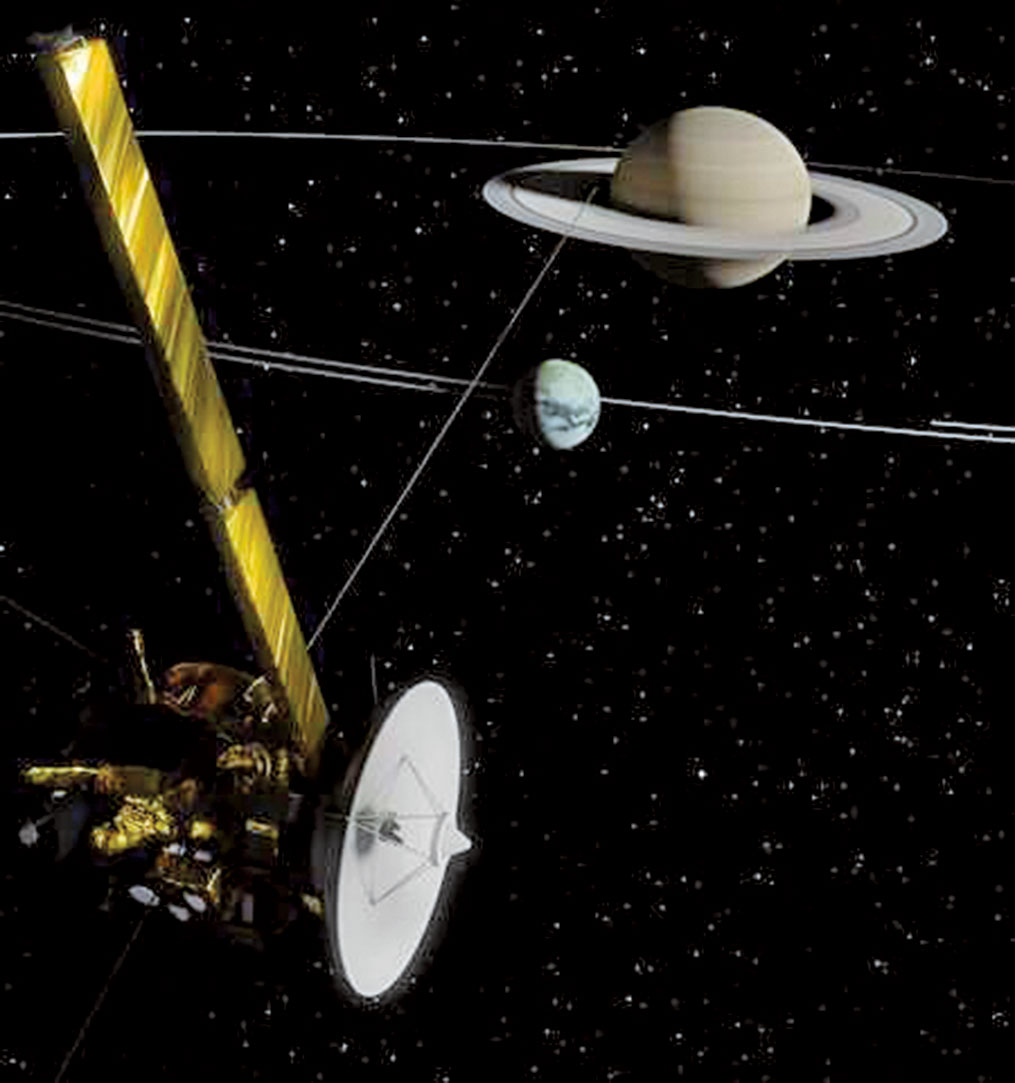 土星及其衛星泰坦和卡西尼太空船示意圖。(Francesco Fiori, Radio Science and Planetary Exploration Lab)