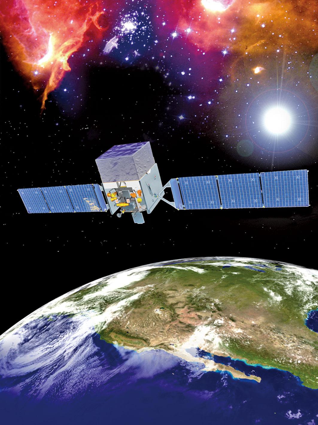 費米伽馬射線太空望遠鏡示意圖。(NASA)