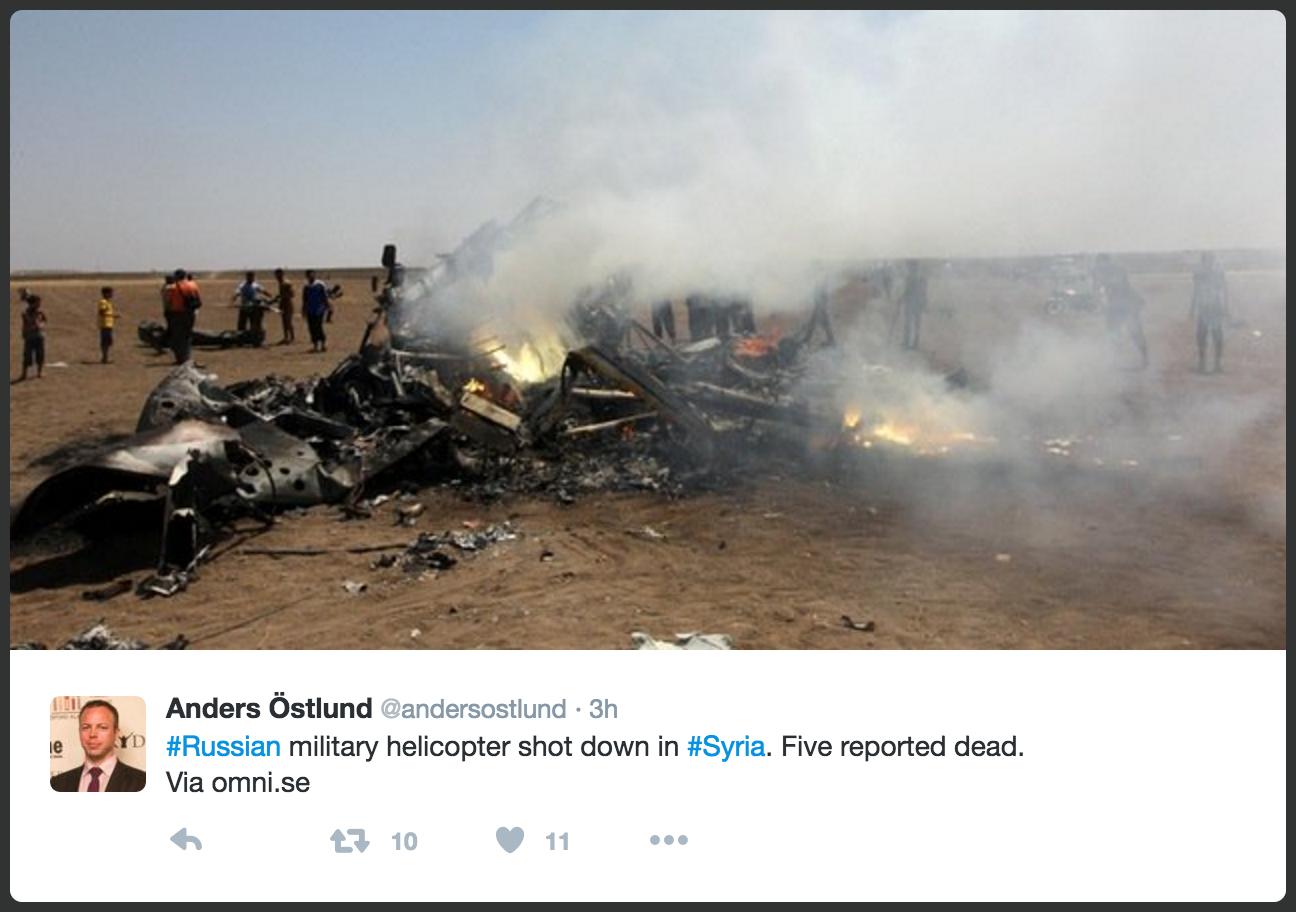俄羅斯國家媒體周一(8月1日)報道,一架俄羅斯直升機向敘利亞的阿勒頗提供援助後被擊落,5名機組人員全部喪生。(推特擷圖)